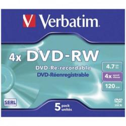 PACK 5 DVD-RW  VERBATIM 4X...